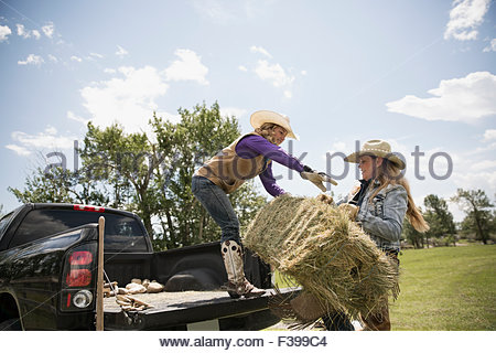 Weibliche Viehzüchter Heuballen in Ladefläche be- - Stockfoto