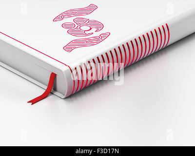 Versicherungskonzept: Buch mit sieben Siegeln mit roten Herzen und ...