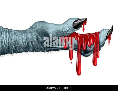Zombie blutige Hand Monster halten flüssiges Blut tropfte auf eine Seitenansicht als gruselig Halloween oder beängstigend - Stockfoto