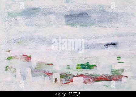 Abstrakte Landschaft Acryl Farben auf Bütten Stockfoto, Bild ...