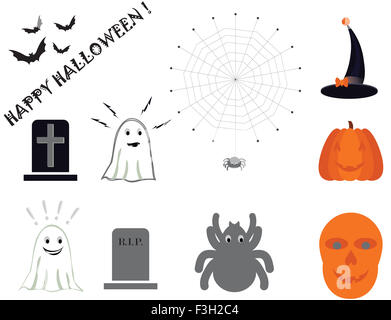 Halloween Symbole setzen auf weißem Hintergrund - Stockfoto