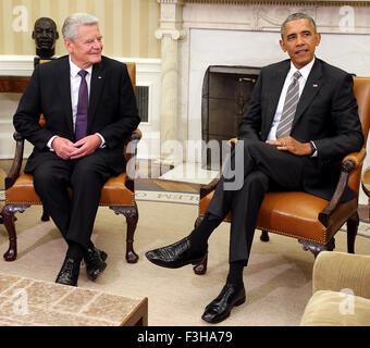 Washington DC, USA. 7. Oktober 2015. Washington, DC, USA. 7. Oktober 2015. Der deutsche Bundespräsident Joachim - Stockfoto