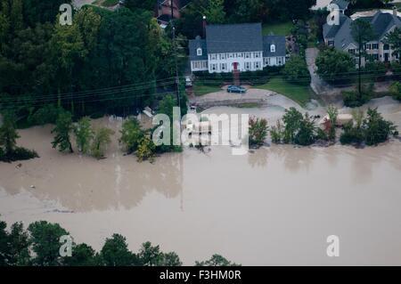 Luftaufnahme von Hochwasser nach rekordverdächtigen Stürmen mehr als zwei Füße regen 5. Oktober 2015 in Columbia, - Stockfoto