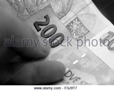 Person Holding Krone Münzen - Prag-Tschechien-Europa (Mittelformat) - Stockfoto