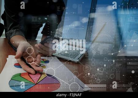 Geschäftsmann Hand arbeiten mit moderner Technik und digitale Ebeneneffekt als Business-Strategie-Konzept - Stockfoto
