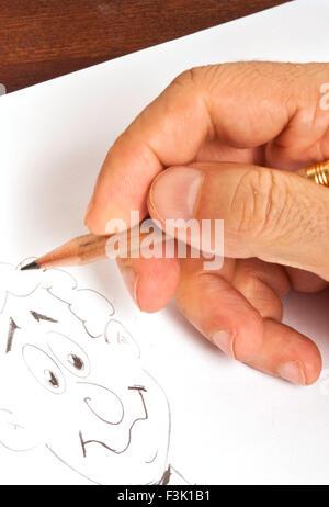 männliche Handzeichnung eine Cartoon-Figur - Stockfoto