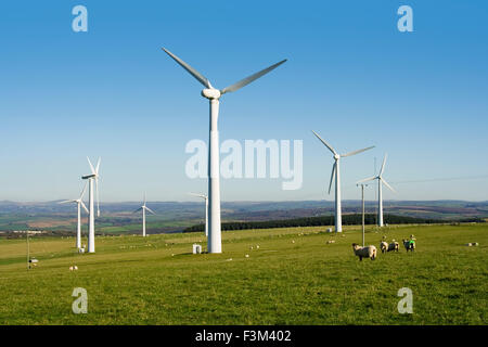 Windpark, Windrad auf Hügel in Bodmin, Cornwall UK - Stockfoto