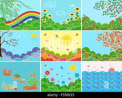 Reihe von neun verschiedenen Bildern, die Darstellung der verschiedenen Standorte und Jahreszeiten; Multicolor Vektor - Stockfoto