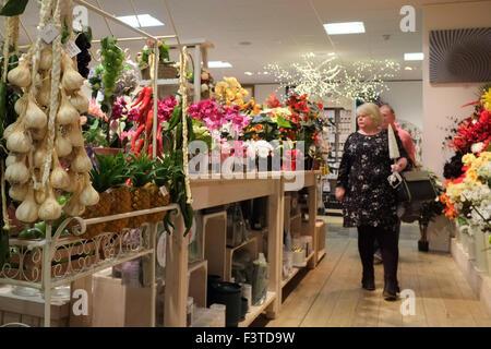 Gartencenter Interieurs, undercover als Geschäfte mit festlichen Displays auf Weihnachten vorzubereiten. - Stockfoto