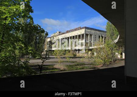"""Der Kulturpalast """"Energetik"""", gelegen an der Lenin-Platz in der verlassenen Stadt Pripjat. Sperrzone von Tschernobyl, - Stockfoto"""
