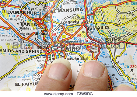 Karte von Afrika, Nordafrika, Ägypten, Kairo - Stockfoto