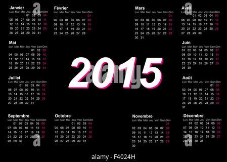 Europäischen Französisch Kalender für das Jahr 2015
