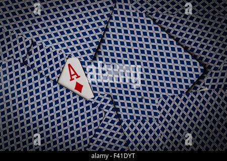 Pokerkarten mit zeigt Karo-Ass - Stockfoto