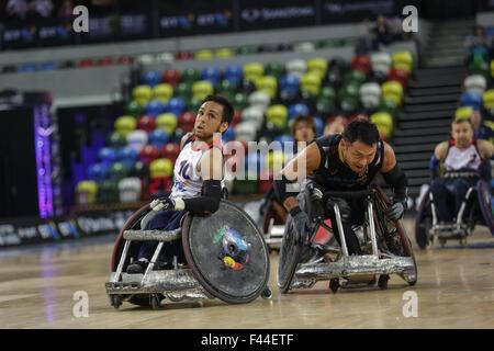 London, UK. 14. Oktober 2015. Japan Niederlage Team GB 55-48 in der Welt Rollstuhl Rugby Challenge in Copper Box, - Stockfoto