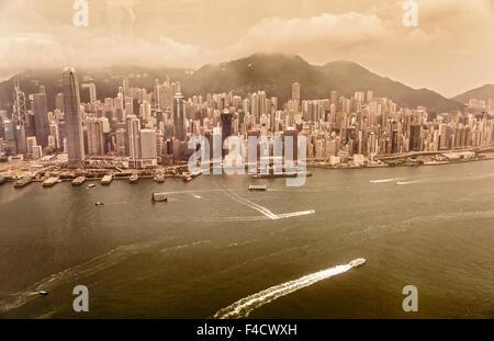 Vintage Bild von Hong Kong von oben. - Stockfoto