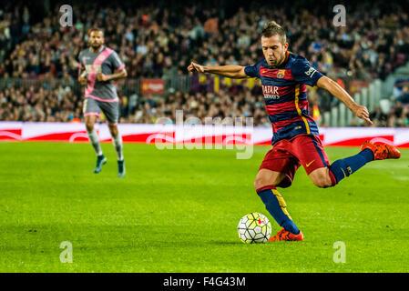 Barcelona, Spanien. 17. Oktober 2015. FC Barcelona-Links zurück JORDI ALBA in Aktion während der Ligaspiel zwischen - Stockfoto