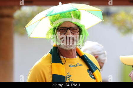 London, UK. 18. Oktober 2015. Australische Fan Australien V Australien V Schottland, Rugby World Cup 2015 Twickenham, - Stockfoto