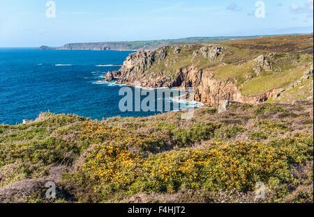 Malerische Küstenlandschaft bei Lands End, Cornwall, England, UK | Malerische Kuestenlandschaft Bei Lands End, Cornwall, - Stockfoto