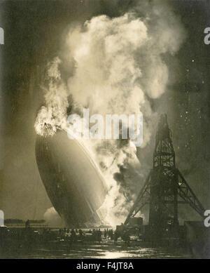 Das Luftschiff Hindenburg-Katastrophe - Stockfoto