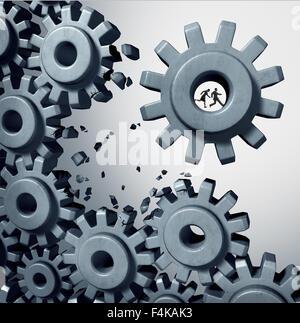 Teamarbeit, die ausbrechen Geschäftskonzept als Geschäftsmann und Geschäftsfrau team im Inneren ein Rädchen oder - Stockfoto