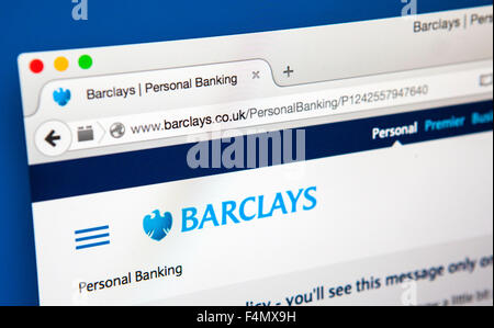 LONDON, UK - 21. Juni 2015: Die Webseite der Barclays Bank, am 21. Juni 2015. - Stockfoto