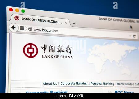 LONDON, UK - 21. Juni 2015: Die Website der Bank of China, am 21. Juni 2015. - Stockfoto