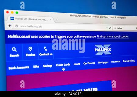 LONDON, UK - 20. Juni 2015: Die Homepage von der offiziellen Halifax UK Bank Webiste, am 20. Juni 2015. - Stockfoto