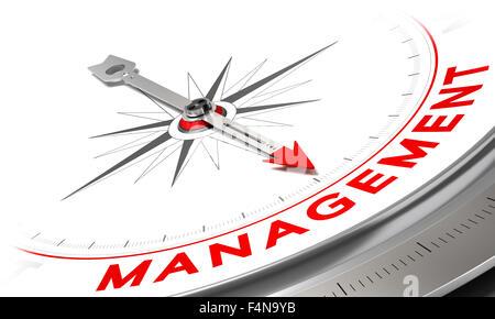 Kompass mit Nadel zeigt das Wort Management. Konzeptionelle Darstellung des Risiko-Managements. Firmen-Konzept-Image. - Stockfoto