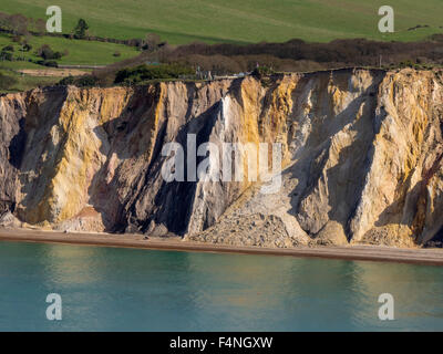 Alum Bay Klippen von Tennyson Down, Isle of Wight, England, Großbritannien - Stockfoto