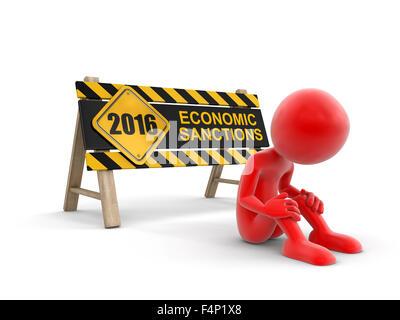 Wirtschaftssanktionen Zeichen und Mann. Bild mit Beschneidungspfad - Stockfoto