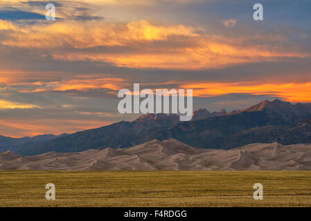 USA, USA, Amerika, Südwesten, Colorado, Alamosa County, Great Sand Dunes, Nationalpark, Preserve, Dünen, Landschaft, - Stockfoto
