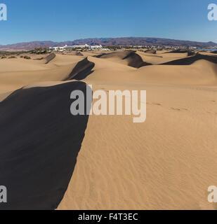 Spanien, Europa, Maspalomas, Gran Canaria, Kanarische Inseln, Sanddünen, klein, Wüste, Dünen, Landschaft, Dunas - Stockfoto