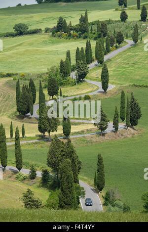Europa, Italien, Toskana, Monticello, gekrümmte Straße nette Stadt - Stockfoto