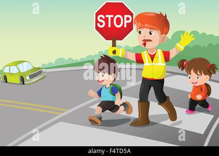 Eine Vektor-Illustration von Flagger und Kinder die Straße überqueren - Stockfoto