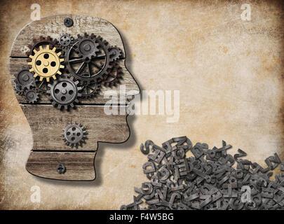 psychische und verbale Aktivität, Gehirn-Modell-Konzept - Stockfoto