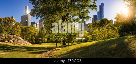 Am Nachmittag Panoramablick auf Central Park im Sommer mit Wolkenkratzern von Manhattan, New York City