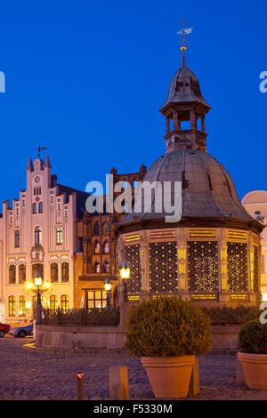 Europa, Deutschland, Baltikum, Ostsee Küste, Mecklenburg-Vorpommern, Hansestadt Wismar, Altstadt, Rathausplatz, - Stockfoto