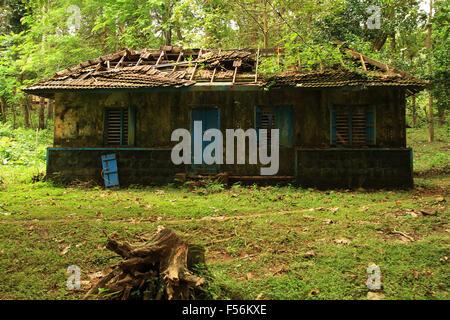 Altes verlassenes Haus in grünen Hintergrund. - Stockfoto