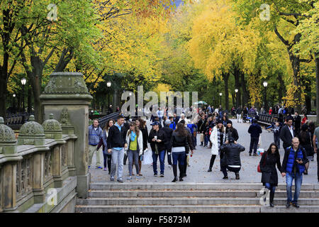 Der Blick von der Mall aus Bethesda Terrasse im Central Park. Manhattan, New York City. USA - Stockfoto