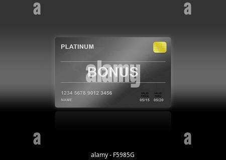 Belohnung Platin Bonuskarte auf schwarzem Hintergrund - Stockfoto