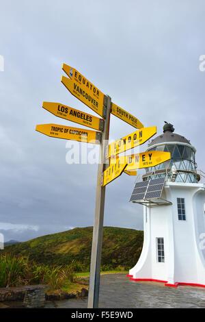 Direktionale Schilder weit Weg stellen. Cape Reinga Leuchtturm Cape Reinga. Te Rerenga Wairua in Māori, Nordinsel - Stockfoto
