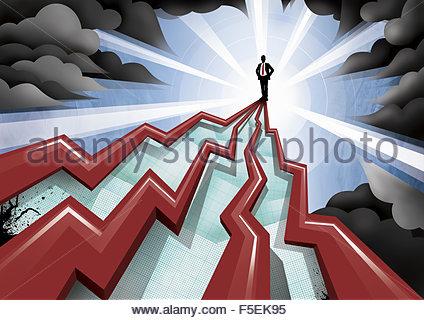 Geschäftsmann stand am Anfang von Pinnacle Liniendiagramme zu erhöhen - Stockfoto