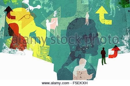 Männer, die durch Pfeile, Leiterplatte und Molekülen verbunden - Stockfoto