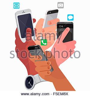 Vier Hände, die mit Smartphones für verschiedene Dinge - Stockfoto
