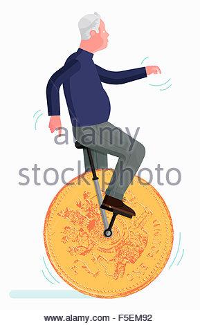 Senior woman balancieren auf einem Pfund Münze Einrad - Stockfoto