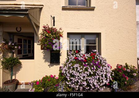 balkonk sten und h ngenden korb gef llt mit leuchtend bunten geranien verbenen und petunien. Black Bedroom Furniture Sets. Home Design Ideas
