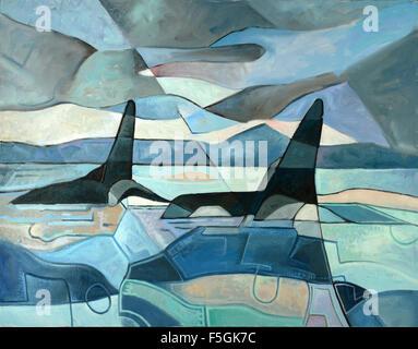 Abstrakte Malerei von zwei Orcas schwimmen. Öl auf Leinwand - Stockfoto