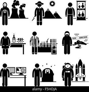 Wissenschaftler Professor Jobs Berufe Karriere - nuklearen, Archäologen, Museumskurator, Chemiker, Historiker, Forensik, - Stockfoto