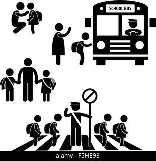 Studenten Schüler Kinder zurück zum Schulbus Kreuzung Straße Verkehr Polizei Symbol Symbol unterzeichnen Piktogramm - Stockfoto