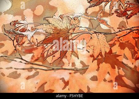 Ahorn Blätter im Herbst Farben. Digitale und grafische Gestaltung und Illustration. - Stockfoto